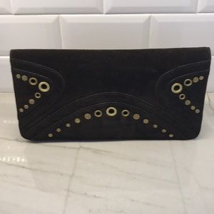 Banana Republic Brown Suede Clutch with Studs